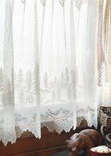 """Heritage Lace Pinecone White Country Deep Scalloped Window Cafe Tier 60""""x30"""""""