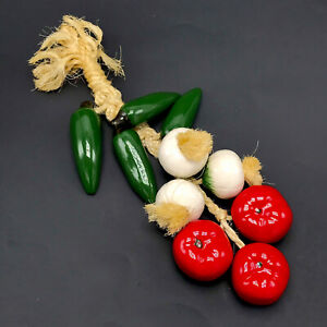 """Ceramic Ristra Hanging 10pc Vegetable Rope Chile Chili Peppers Onion Tomato 13"""""""