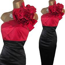 Karen Millen Black Red Rose Corsage One Shoulder Wiggle Cocktail Dress UK 14