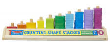 Counting Shape Stacker Wooden Educational Toy with 55 Shapes and 10 Number Tiles