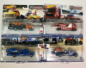 4 Car Set Case L * 2021 Hot Wheels Team Transport SRT, Ford, BMW, Baja  IN STOCK