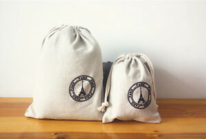 2 X Vintage Linen Organizer Pouch Coin Cosmetic Bag