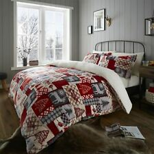 Christmas Patchwork Red Sherpa Fleece Duvet Cover Bedding Set