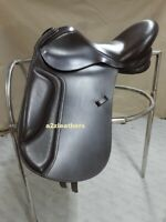 New Black & Brown Leather Dressage Treeless Saddle with Accessories in 9 sizes.