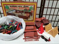 Vtg 1968 Marx Fort Apache Carry-All Play Set With Figures Cannon Black Rare HTF