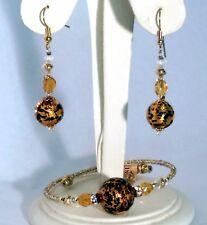 Murano Glass Leopard Earrings & Bracelet Set - Made in Venice Italy