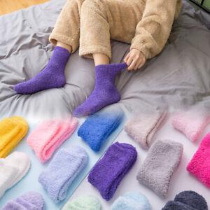 Women Ladies Fluffy Coral Fleece Socks Sleep Bed Socks Winter Warm Floor Socks