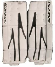 "New Sherwood T90 goalie leg pads white/black 28"" junior J.r ice hockey goal pad"