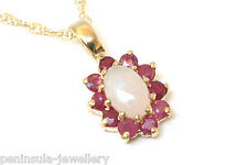 9ct Gold Opal and Ruby cluster Pendant and Chain Gift Boxed Necklace Made in UK