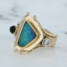 Vintage Black Opal Onyx Diamond Ring - 14k Yellow Gold Size 5.25 Unique Cocktail