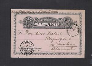 ECUADOR-POSTAL CARD-1890-3 C RATE-EXTERNAL-GUAYAQUIL TO HAMBURG-VF-#6