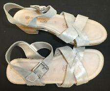 remonte !! Damen Sandale Sandalette Gr. 38 UK 5 // silber used-look