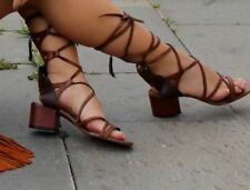 Zara 100% Leather Lace-up Heels for Women