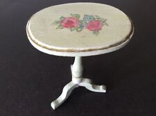Dolls house miniature 1:12 shabby chic handpainted oval table
