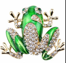 Frog Green Enameled with Clear Crystals Vintage Gold Pin Brooch D-6614