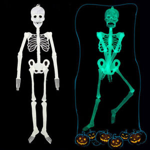 Scary Luminous Human Skeleton Hanging Halloween Bar Party Skull Decor Funny Prop