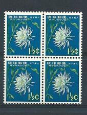 Ryukyu Islands Japan US 1963 Sc# 107 Gooseneck cactus flower block 4 MNH