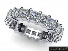 Natural 2.7ct Princess Cut Diamond Anniversary Eternity Band Ring 14k White Gold