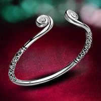 925 Silver Hoop Sculpture Cuff Bangle Bracelet Fashion Women Jewelry