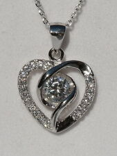 0.5 Carat Zopius Lab Created Diamond Swirling Heart Sterling Silver Pendant