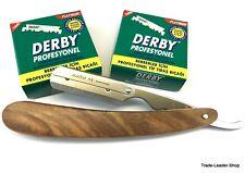 Holz Rasiermesser + 200 Derby Rasierklingen Rasierer Rasur Razor NATRA