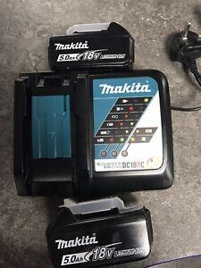 2 X  Makita BL1850B 18V 5.0Ah Li-Ion LXT Batterys & 1 X Charger Genuine