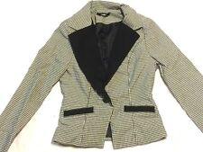 Papaya Blazer Womens Juniors Long Sleeve Dress Jacket Small Black White Coat