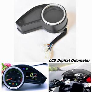 12000RPM Motorcycle LCD Digital Odometer Speedometer Tachometer Gauge Meter