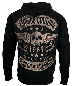 Xtreme Couture by Affliction Men's Hoodie FADED IRON Skull Biker Black $79