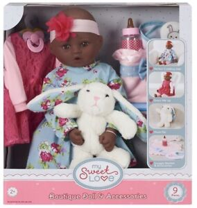 """My Sweet Love 18"""" Doll and Accessories Set with Plush Bunny dark skin baby NWT"""