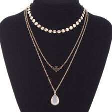 Multilayer Chain Luxurypeace Pigeon Water Drop Opal Pendant Necklace Jewelry1pc Gold