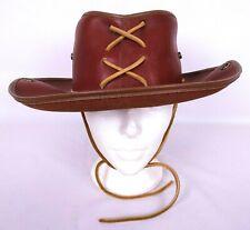 "Vintage Leather Cowboy Western Hat Chin Cord Reddish Brown Sz S/M Handmade 22"""