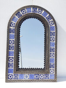 PUNCHED TIN MIRROR arched mixed mexican talavera tile, folk art wall decoration