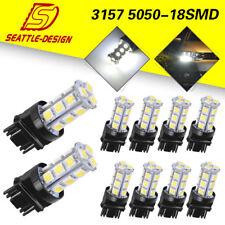 10x 3157 3156 White 5050 18-LED Tail Brake Stop Backup Reverse LED Light Bulbs