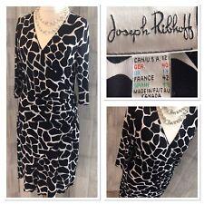 Joseph Ribkoff Black & White Stretchy Faux Wrap Midi Dress Uk14 NWOT