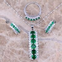 Lady 925 Silver Emerald Amethyst Ruby Pendant Necklace+Earrings+Ring Jewelry Set