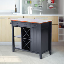 """40""""× 19.7"""" Wood Kitchen Table Deluxe Island Storage Cabinet W/ Drawers Wine Rack"""