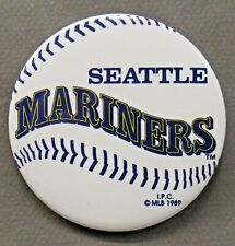 "1989 SEATTLE MARINERS Baseball logo 3"" pinback button"