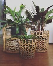 Set Of Two Vintage Wicker Nesting Baskets Plant Holder Planter Boho Home Decor