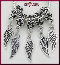 5 Silver Guardian Angel Wing Charms Fit European Jewelry 7 * 32 & 5 mm Hole S163