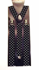 BLACK & WHITE DOTS ADJUSTABLE SLIM BRACES UNISEX MEN TROUSER ELASTIC SUSPENDERS