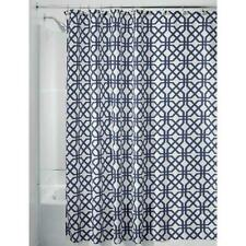 "Trellis Fabric Shower Curtain 72"" X 72"" w/ 12 Holes, Navy Blue/White Bath Decor"