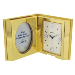 GTP Miniature Open Book Mini Photo Frame Gold Plated On Solid Brass Shelf Clock