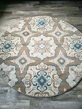 "8' Round (7'10"") Transitional Modern Contemporary Floral Area Rug"