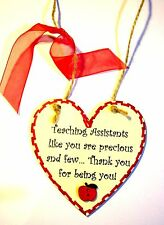 GIFT FOR TEACHING ASSISTANT Handmade Heart Shaped Wood Plaque With Little Apple