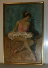 Cuadro bailarina clásica sobre madera - Firma J Pilarré