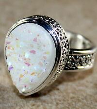 SILVER Vintage Style White Rainbow Titanium Druzy Teardrop Ring Size 6