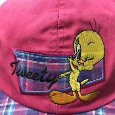 Looney Tunes Tweety Cap Hat Plaid Warner Brothers Elastic Back 1997 Vintage