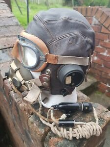 WW2 RAF Type C Helmet, Type H Mask & MkV111 Goggles. Fully Wired. Fab Condition.