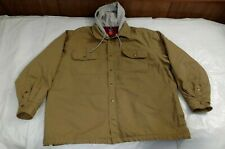Puritan Mens 2XL Front Zip Button Shirt Hooded Jacket Fleece Lined Khaki